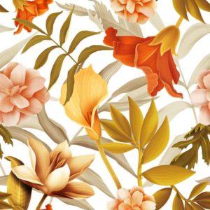 Floral atau Wallpaper Dinding Motif Gambar Bunga  Printing Wallpaper